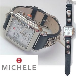 Michele Deco Chronograph watch w/ Studded Strap